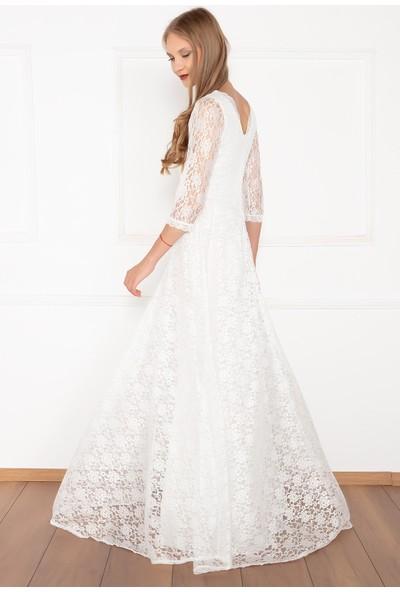 Kalopya Kadın Kristy 3810-2 V Yaka Dantel Uzun Elbise