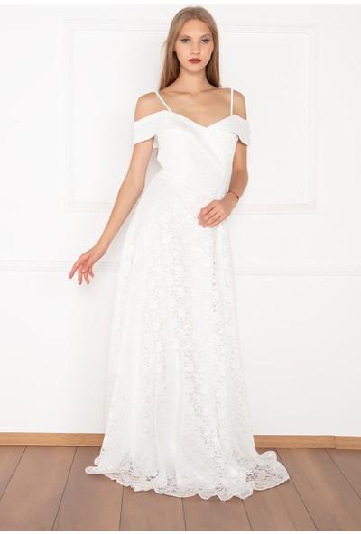 Kalopya Kadın Laos Dantel 3991 Madonna Yaka Uzun Elbise