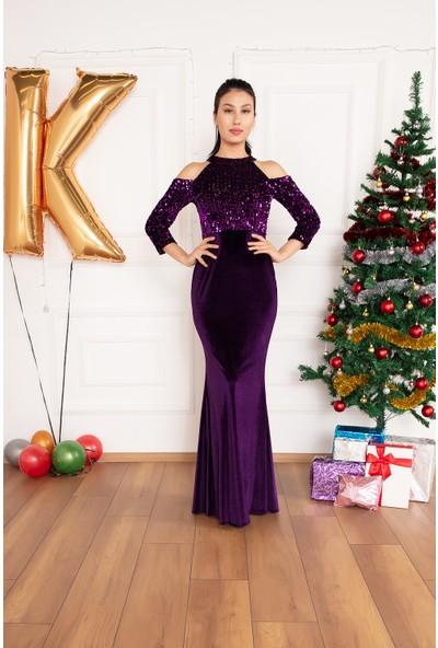 Kalopya Kadın Lavender 13179 Omuz Detaylı Kadife Pul Payet Elbise