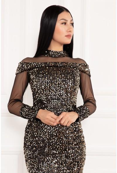 Kalopya Kadın Leatrice 13227 Tül Pul Payet Uzun Elbise