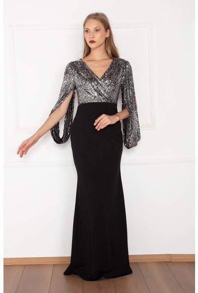 Kalopya Kadın Lenan 13086 Dalgıç Pul Payet Uzun Elbise