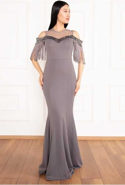 Kalopya Kadın Leni 13070 Püsküllü Dalgıç Kumaş Uzun Elbise