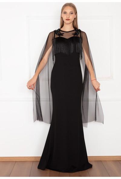 Kalopya Kadın Lide 13131 Tül Kul Sacaklı Uzun Elbise