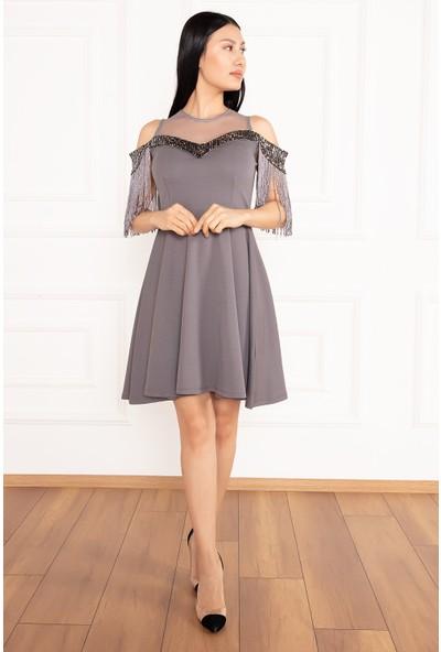 Kalopya Kadın Lilay 13064 Pullu Püsküllü Kısa Elbise