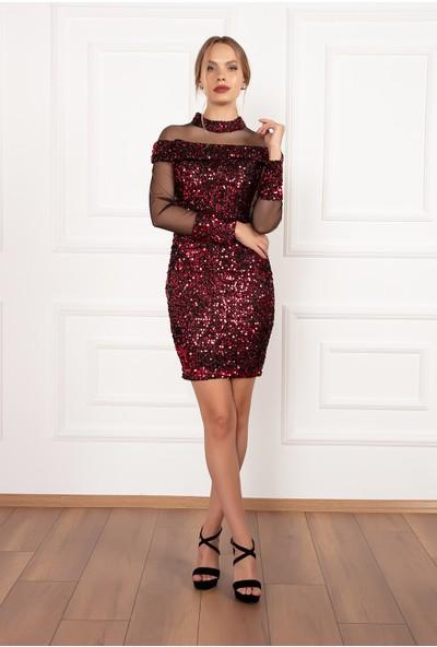 Kalopya Kadın Lole 13171 Sakallı Pullu Omuz Detaylı Kısa Elbise