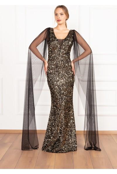 Kalopya Kadın Margrit 13175 Pul Payet Kol Şifon Detaylı Balık Elbise