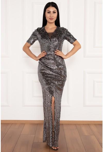 Kalopya Kadın Mavren 13203 Pul Payet Yırtmaçlı Kol Detaylı Uzun Elbise