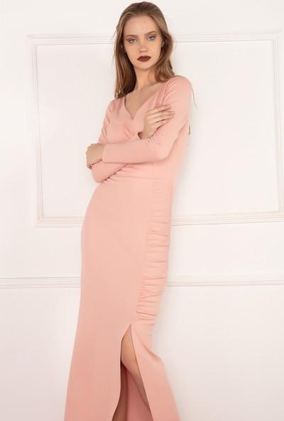 Kalopya Kadın Meey 3674 V Yaka Yırtmaç Detaylı Uzun Elbise
