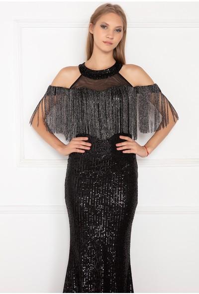 Kalopya Kadın Miay 13150 Balık Pul Payet Elbise