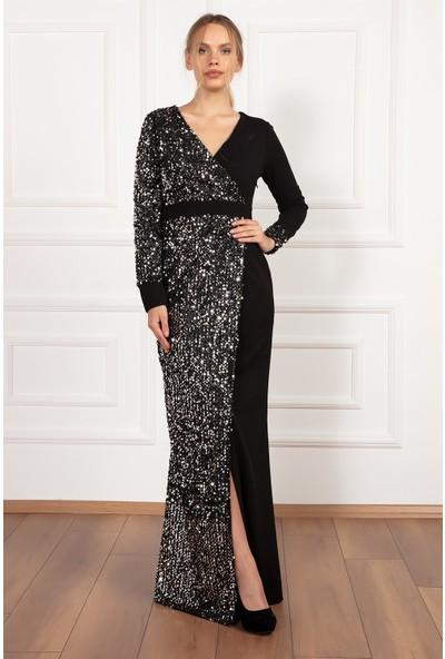 Kalopya Kadın Nancy 13204 Pul Payet V Yaka Uzun Elbise