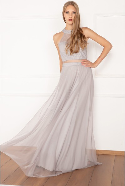 Kalopya Kadın Niomiy 13046 Beli Açık Tül Sim Elbise