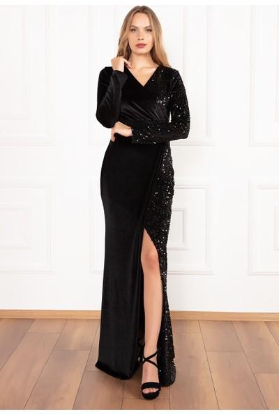Kalopya Kadın Noor 13184 Derin Yırtmaçlı Kadife Pul Payet Uzun Elbise