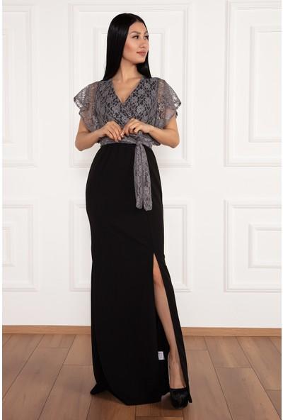 Kalopya Kadın Olive 13214 Krep Üstü Dantel Uzun Elbise