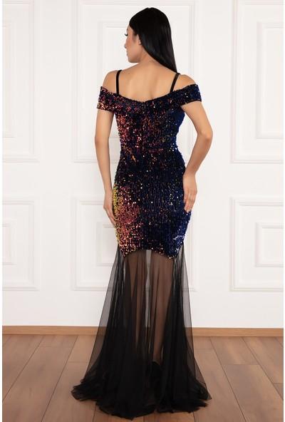 Kalopya Kadın Olivia 13212 Kadife Pul Payet Tül Detaylı Elbise