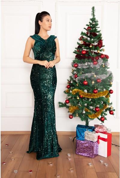 Kalopya Kadın Pam 13216 Kadife Pul Payet Uzun Elbise
