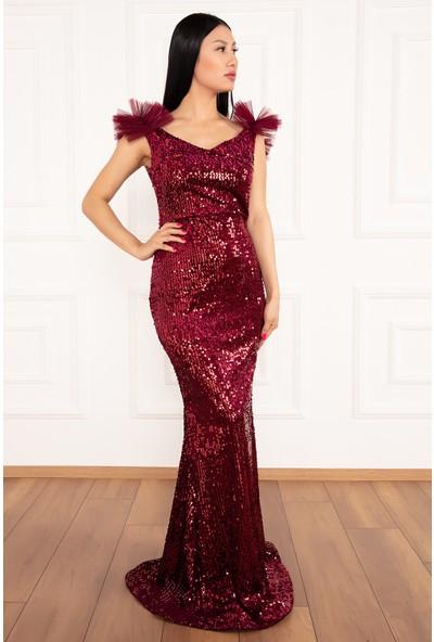 Kalopya Kadın Pamela 13222 Kadife Pul Payet Omuz Tül Detaylı Elbise