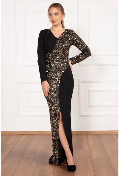 Kalopya Kadın Soraya 13182 V Yaka Pul Payet Detaylı Uzun Elbise