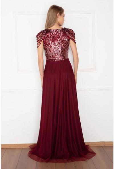 Kalopya Kadın Sunt 13118 Pul Payet Tül Uzun Elbise