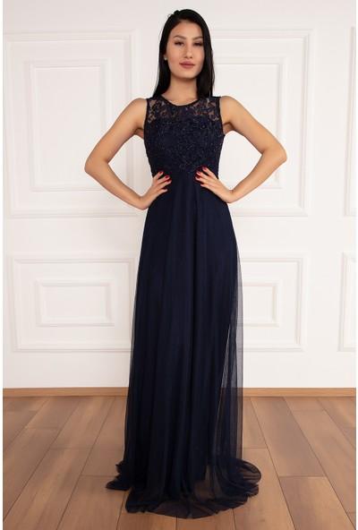 Kalopya Kadın Temay 3838 Üstü Simli Etek Tül Uzun Elbise
