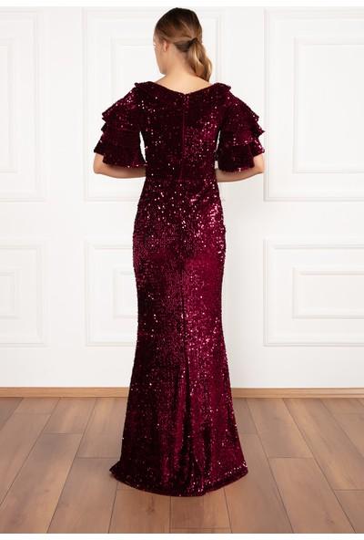 Kalopya Kadın Tiana 13189 Kolları Volanlı Kadife Pul Payet Elbise