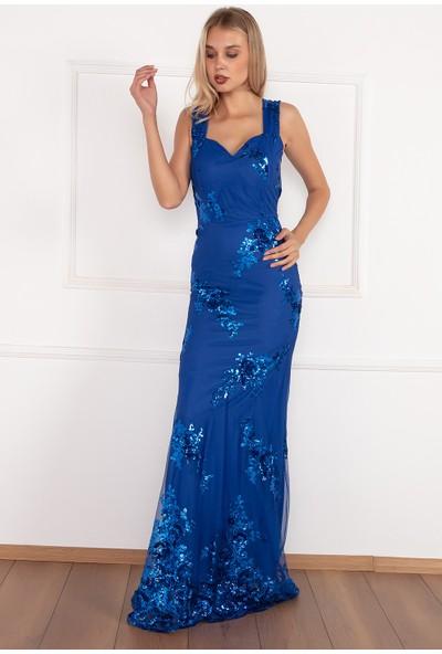 Kalopya Kadın Uzun Kalın Askılı Pul Payet 3765 Elbise