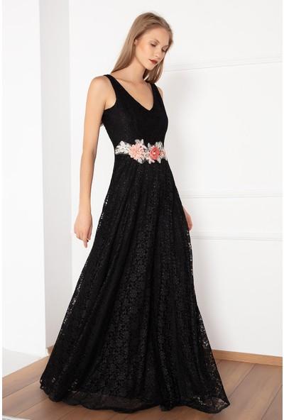 Kalopya Kadın Varna 13102 Beli Çiçekli Dantel Elbise