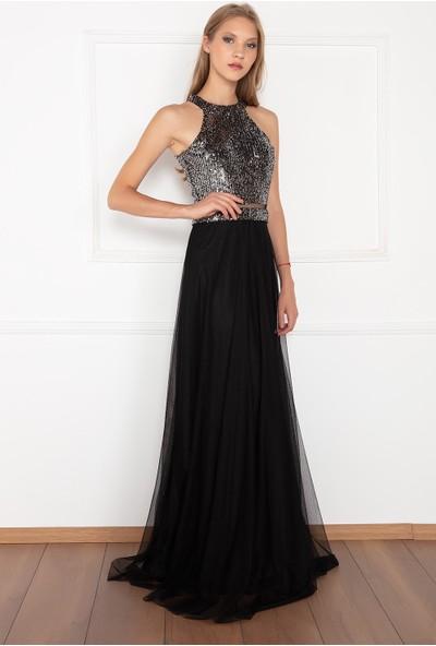 Kalopya Kadın Volum 13129 Üst Pul Payet Altı Tül Elbise