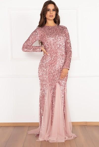 Kalopya Kadın Whitley 13174 Pul Payet Balık Kadife Elbise