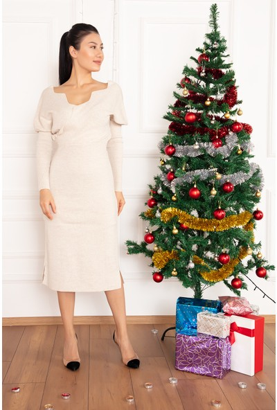 Kalopya Kadın Yakası Kademeli Kruvaze 5168 Triko Elbise