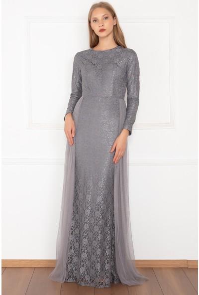 Kalopya Kadın Yasemin 13082 Dantel Tül Tesettür Elbise