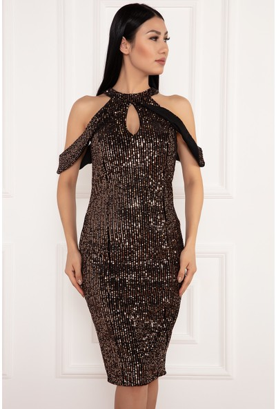 Kalopya Kadın Zetina 13178 Kadife Pul Payet C Yaka Kısa Elbise