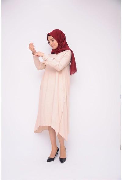 Anitabella Düğmeli Salaş Pudra Elbise