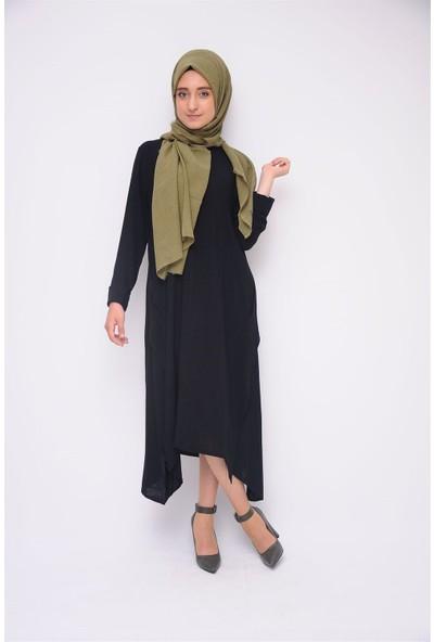 Anitabella Düğmeli Salaş Siyah Elbise