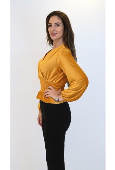 Anitabella Kadife Gipeli Hardal Bluz