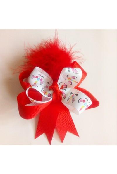 Pamuk Şekeri Hobi Evi Unicorn Desenli Kırmızı Tüylü Çocuk Saç Tokası