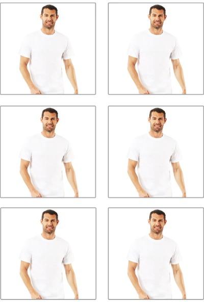 Özkan 6'Lı Paket Erkek Penye Kapalı Yaka Fanila 0055 Beyaz