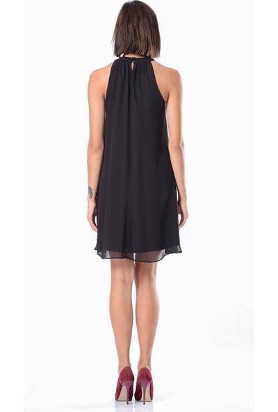 İroni Kolsuz Şifon Siyah Mini Elbise