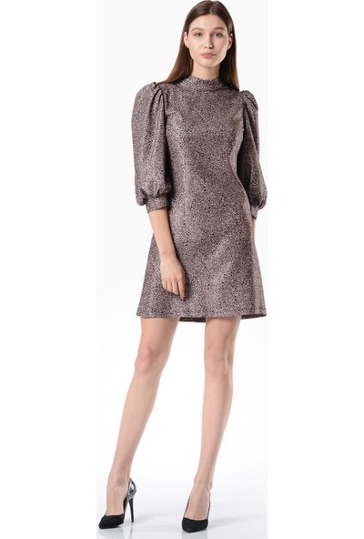 İroni Leopar Desenli Mini Elbise