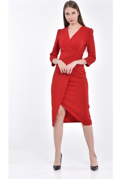 İroni Kruvaze Yırtmaçlı Elbise