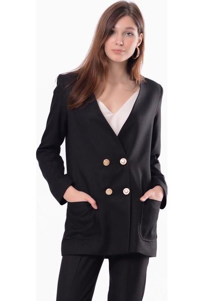 İroni Blazer Siyah Ceket
