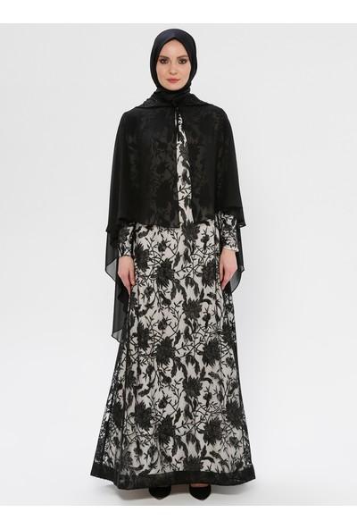 Mileny Pelerin Detaylı Abiye Elbise - Siyah