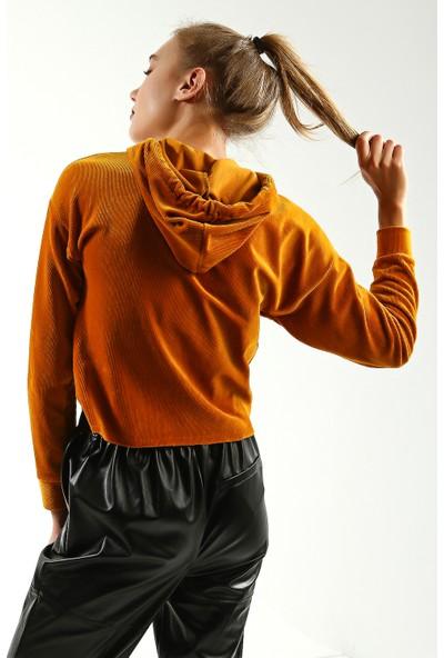 Collezione Kadın Safran Regular Kadife Kapüşonlu Sweatshirt