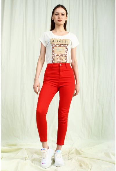 Collezione Kadın Kırmızı Pantolon