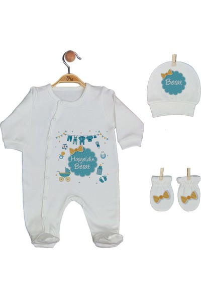 Pia Baby Gl 1905 -02 İsme Özel Beşli Tulum Set