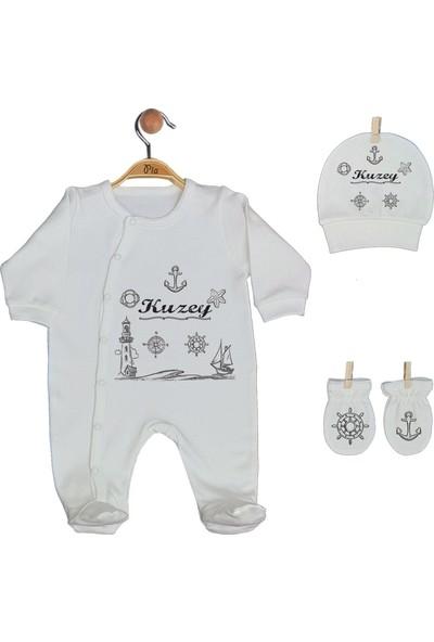 Pia Baby Gl 1928-01 İsme Özel Üçlü Tulum Set