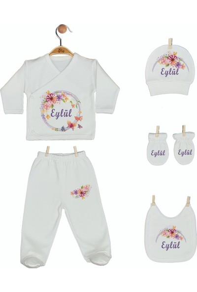 Pia Baby Gl 1923-05 İsme Özel Beşli Zıbın Set