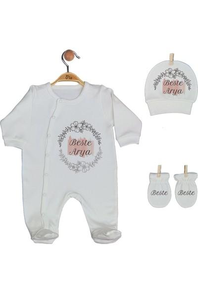 Pia Baby Gl 1908-01 İsme Özel Üçlü Tulum Set