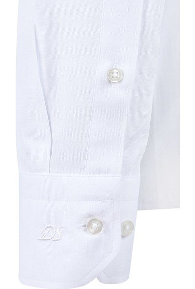 D'S Damat Slim Fit Beyaz Erkek Gömlek