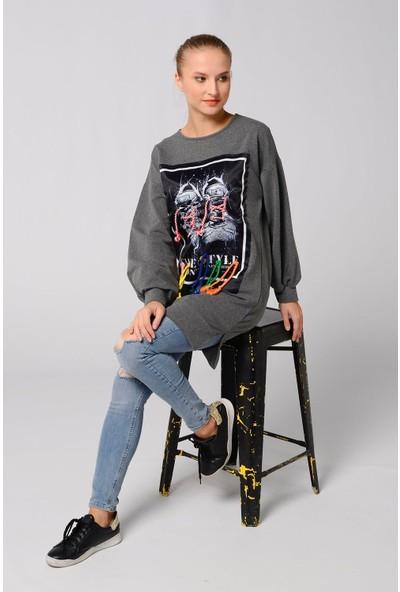 Nefise Kadın Ayakkabı Aplike Detaylı Sweatshirt
