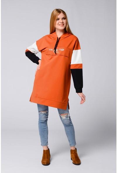 Nefise Kadın Baskılı Kapşonlu Sweatshirt